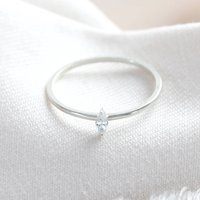 Sterling Silver Thin Diamond Stone Ring, Silver