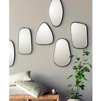 Set Of Three Iron And Black Framed Mirrors