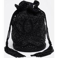 Beatrice Hand Embellished Bucket Bag In Black