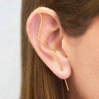 Gold Zig Zag Ear Cuff Earrings, Gold