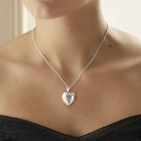 Sterling Silver Four Piece Heart Locket Necklace, Silver