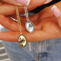 Personalised Silver Or Gold Crying Eye Necklace, Silver