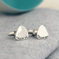 Personalised Sterling Silver Plectrum Cufflinks, Silver