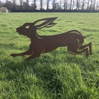Large Rusty Metal Leaping Hare Garden Feature