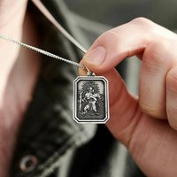 Large Dog Tag St Christopher Silver Necklace, Silver