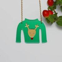 Christmas Jumper Necklace Reindeer Design