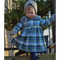 Girls Green And Navy Tartan Dress