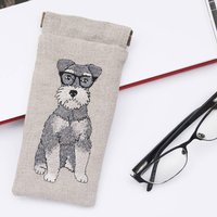 Embroidered Schnauzer Glasses Case