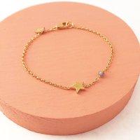 Gold Star Bracelet With Labradorite Detail, Gold