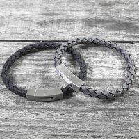 Personalised Brushed Steel Hidden Message Bracelet, Black/Grey