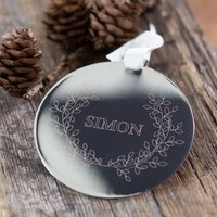Personalised Metal Disc Wreath Decoration, Gold/Silver