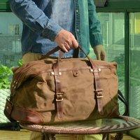 Handmade Vintage Look Waxed Canvas Duffel Bag
