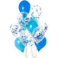 Pack Of 14 Peacock Blue Confetti Balloons, Blue