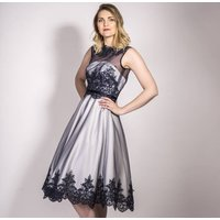 Navy And Ivory Lace And Satin Occasion Wear Dress