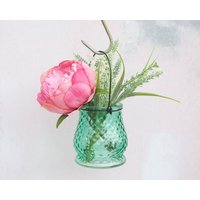 Peony Bouquet In Hanging Vase, Green/Maroon/Pink