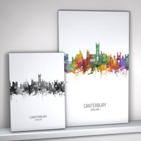 Canterbury Skyline Portrait Print And Box Canvas