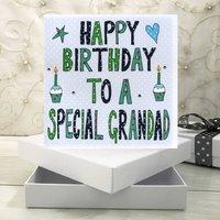 Personalised Grandad Birthday Book Card, Green/Grey