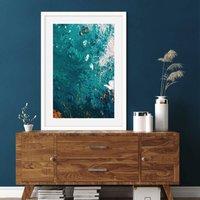 Teal Abstract Waves Art Print