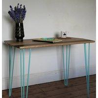 Hiarpin Leg Desk Slid Ash Oak Walnut Stripe