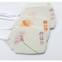 Personalised Handmade Porcelain Mum Gift Tag, Red/Yellow/Blue