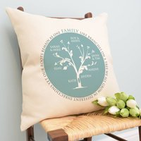 Personalised Family Tree Circle Cushion, Grey/Red/Blue