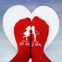 Personalised You Are My Hero Socks, Red/Black/Navy