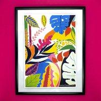 Stripy Bright Tropicals Art Print