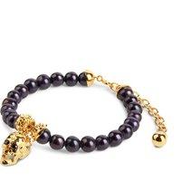 Skull And Peacock Pearl Bracelet Gold, Gold