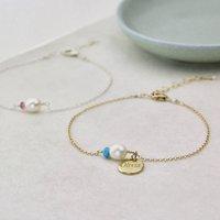 Semi Precious Birthstone And Pearl Bracelet