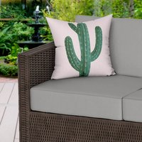Cactus Print Pink Water Resistant Outdoor Cushion