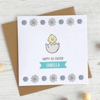 Floral Easter Chick, Personalised Card