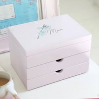 Personalised Birth Flower Jewellery Box With Drawers