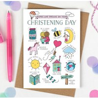 Girls Christening Card Hopes And Dreams