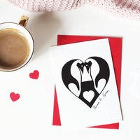 Personalised Penguin Love Card, White/Gold