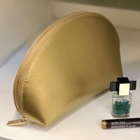 Personalised Metallic Leather Make Up Bag, Silver/Gold