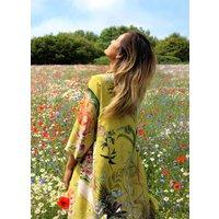 Yellow Silk Kimono Jacket Enticement Print