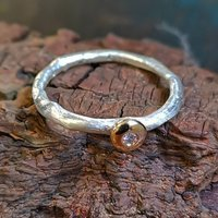 Hand Made Diamond Ring In Silver And Gold, Silver
