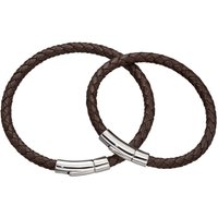 Daddy And Me Silver And Brown Leather Bracelet Set, Silver