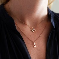 Contemporary Letter Sterling Silver Necklace Set, Silver
