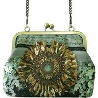 Sequin Lichen Printed Silk Handbag