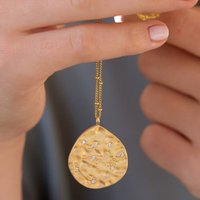 Gold Sterling Hammered Zodiac Constellation Necklace, Gold