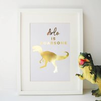 Roarsome Personalised Dinosaur Gold Foil Print