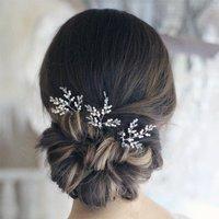 Swarovski Crystal And Pearl Hair Pins X Three