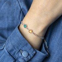 Silver Double Birthstone Bracelet, Silver