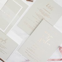 Rose Gold And Pale Grey Foil Day Wedding Invite Sample