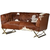 Natural Cow Hide Two Seater Buttoned Back Sofa