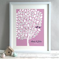 Personalised Tree Wedding Guest Book Print, Mauve/Raspberry/Coral