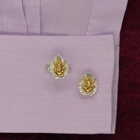 Frog Cufflinks In Solid Silver With 18ct Gold, Silver