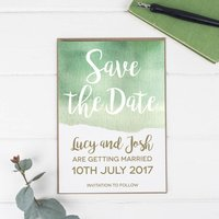 Green Watercolour Wedding Save The Date Card Or Magnet
