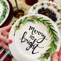 Personalised Hand Painted Christmas Wreath Side Plate